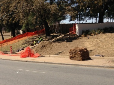Pic 2: New grass for the Grassy Knoll, just across the Parkway