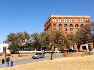 Pic 1: The Book Depository looms over the Parkway